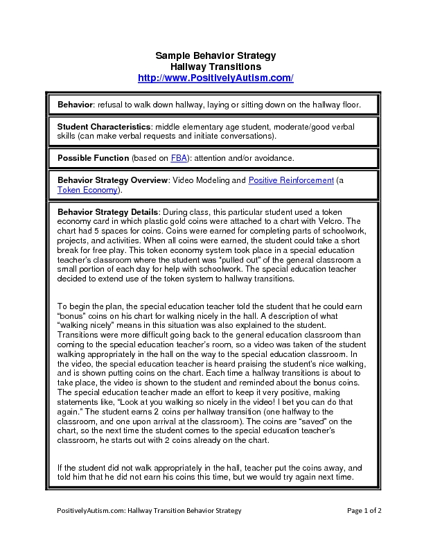 Sample Behavior Strategy Hallway Transitions Lesson Plan