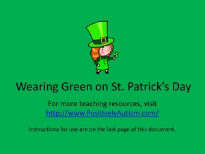 Wearing Green on St. Patrick's Day: A Social Story Worksheet