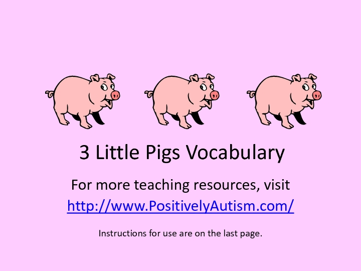 3 Little Pigs Vocabulary Worksheet