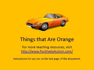 Things That are Orange Worksheet