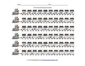 Train Skip Counting: Count by 10s Worksheet for 1st - 6th ...