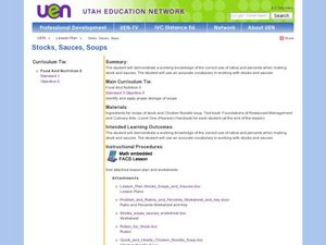 Stocks, Sauces, Soups Lesson Plan