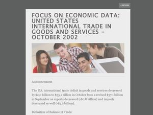 Focus on Economic Data: US International Trade in Goods and Services - October 2002 Lesson Plan