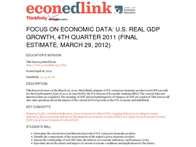 Focus on Economic Data: US Real GDP Growth, 4th Quarter 2011 (Final Estimate, March 29, 2012) Lesson Plan