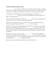 Mormon Trail Fill in the Blank Activity Worksheet