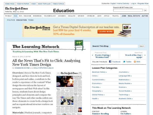 All the News That's Fit to Click: Analyzing New York Times Design Lesson Plan