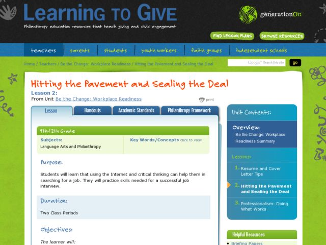 Hitting the Pavement and Sealing the Deal  Lesson Plan