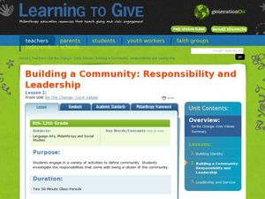 Building a Community: Responsibility and Leadership  Lesson Plan