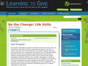 Study Skills, Time, and Money Management Lesson Plan