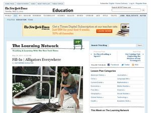 The Learning Network: Alligators Everywhere Fill-In Worksheet