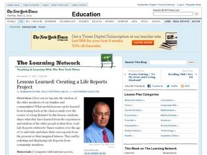 Lesson Learned: Creating a Life Reports Project Lesson Plan