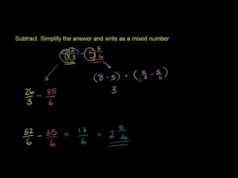 Subtracting Mixed Numbers 2 Video