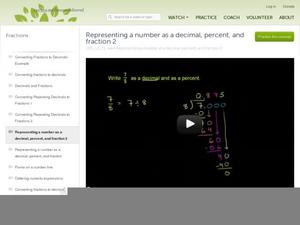 Representing a Number as a Decimal, Percent, and Fraction, Part 2 Video