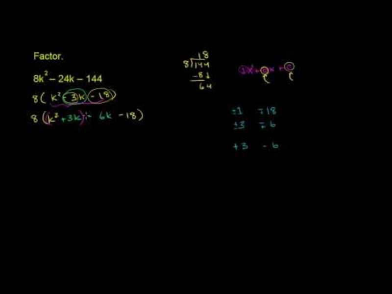 Factoring Trinomials with a Common Factor Video