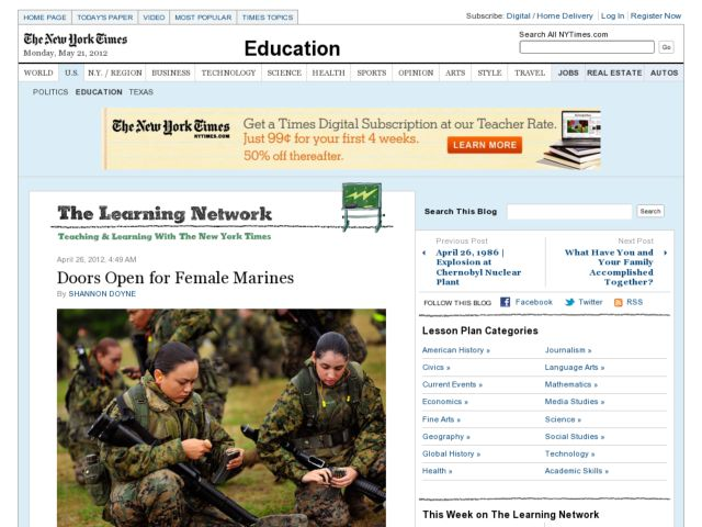 Doors Open for Female Marines Worksheet