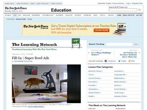 The Learning Network: Fill-In Super Bowl Ads  Worksheet