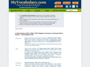 Word Roots 1: DICT, VENT, DUCT Beginner Synonym or Antonym Word Puzzle Worksheet