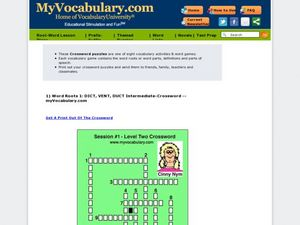 Latin Roots dict, duct, and vent: Crossword Puzzle Worksheet