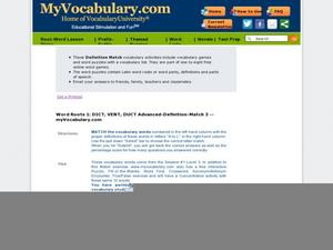 Word Roots 1: DICT, VENT, DUCT Advanced Definition Match 3 Worksheet