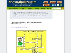 Word Roots 1: Dict, Vent, Duct Advanced-Crossword Worksheet