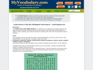 Word Roots FIN, SED, and FER Beginner Word Search  Worksheet