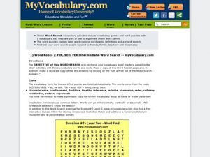 Word Roots 2: Fin, Sed, Fer Intermediate-Word Search Worksheet