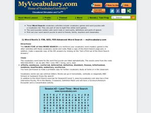Word Roots 2: Fin, Sed, Fer Advanced-Word Search Worksheet