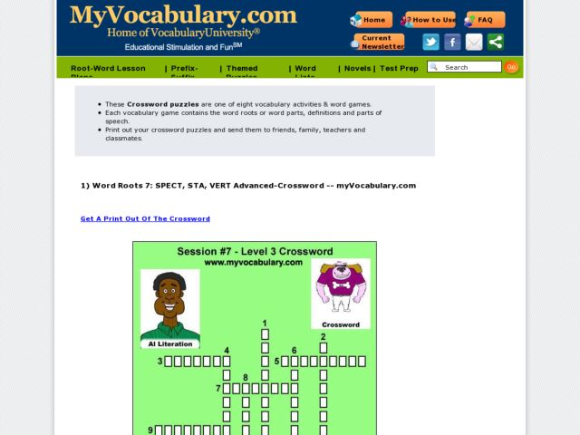 Word Roots SPECT, STA and VERT: MyVocabulary.com  Worksheet