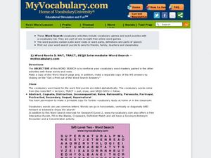 Word Roots NAT, TRACT, SEQU Intermediate Word Search  Worksheet