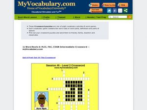 MyVocabulary.com: Word Roots PLIC, FAC, and COGN Intermediate Crossword Puzzle Worksheet