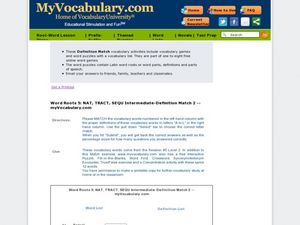 Latin Roots nat, tract, sequ: Vocabulary Matching Worksheet