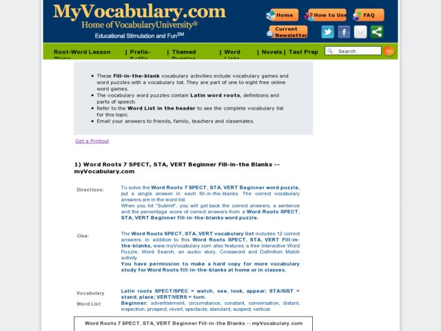 Latin Roots Spect, Sta, Vert: Beginner Quiz Worksheet