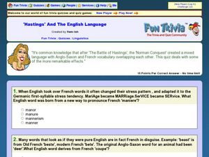 'Hastings' and the English Language Worksheet