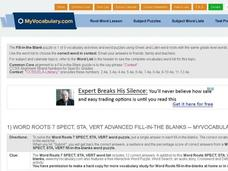 Word Roots 7: SPECT, STA, VERT Advanced Fill-in-the-Blanks Interactive