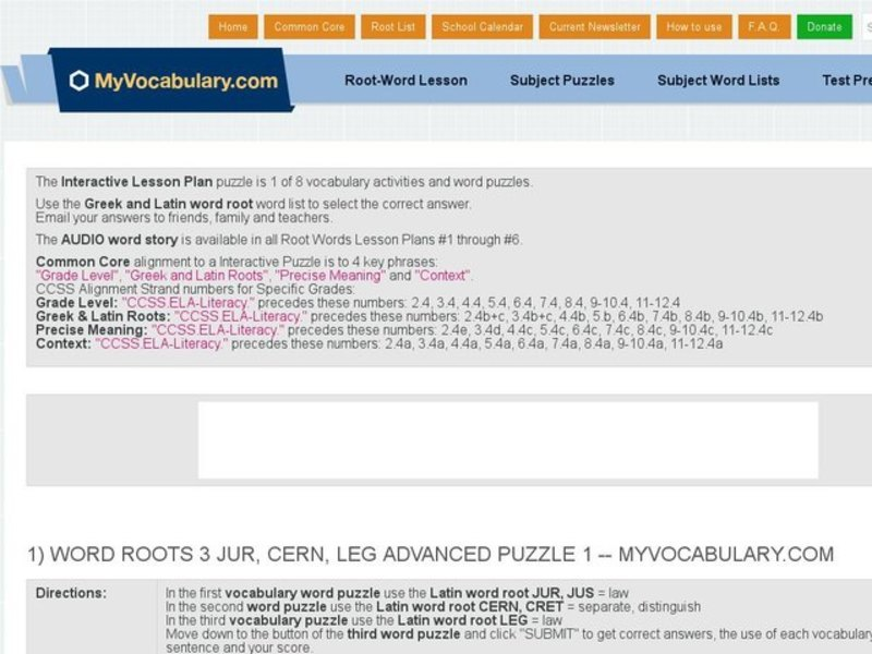 Word Roots 3: JUR, CERN, LEG Advanced Puzzle 1, 2, & 3 Interactive