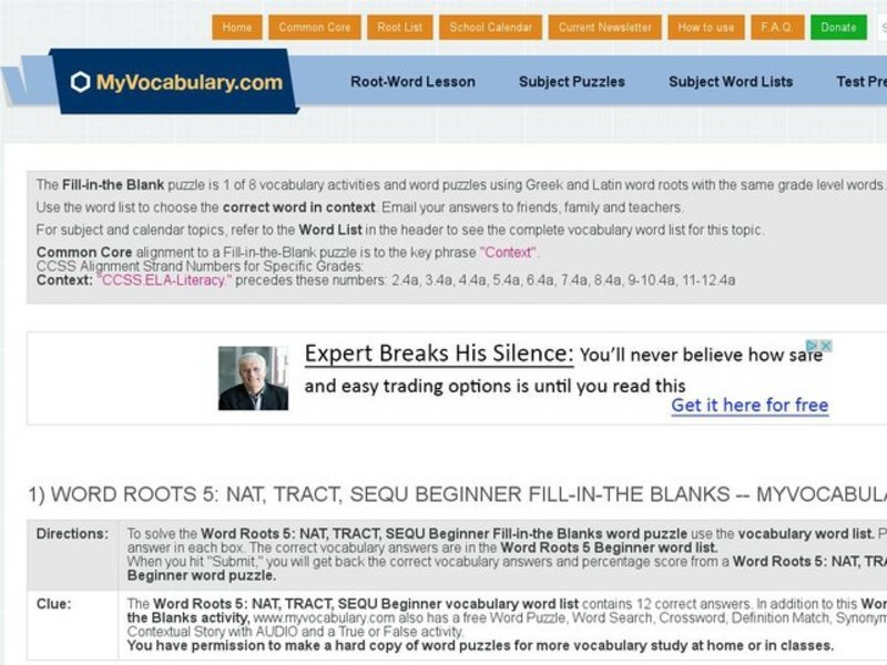 Word Roots 5: Nat, Tract, Sequ Beginner Fill-in-the-Blank Interactive