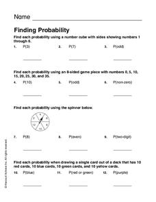 Finding Probability Worksheet