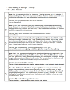 """Trains meeting in the night"" Activity: 4-1 -- China Reunites Worksheet"