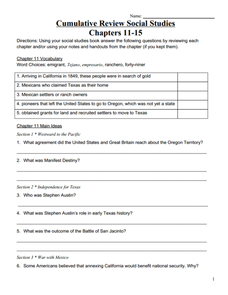 Cumulative Review: Chapters 11-15 Worksheet