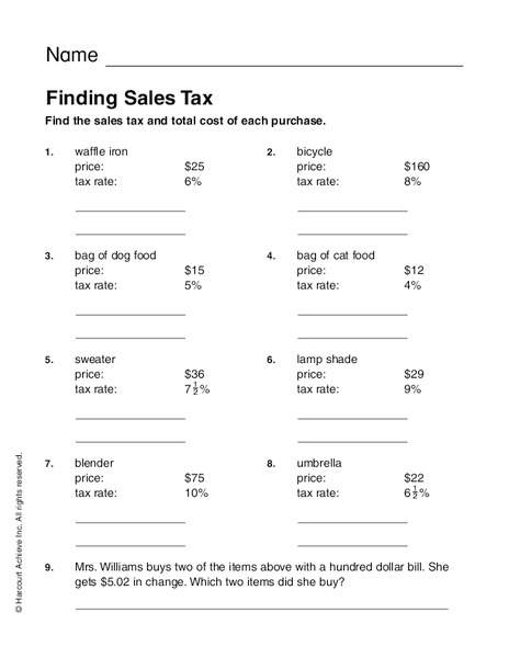 Finding Sales Tax Worksheet for 2nd - 4th Grade | Lesson ...