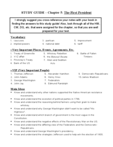 Study Guide: The First President Worksheet