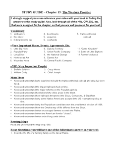 Study Guide- Chapter 15: The Western Frontier Worksheet