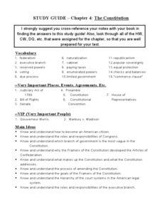 Study Guide - Chapter 4: The Constitution Worksheet