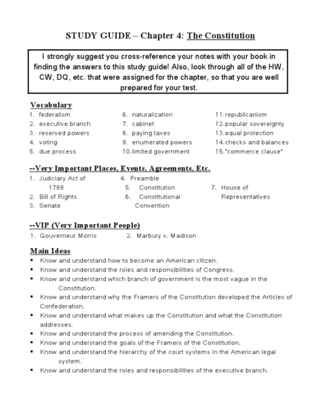 Study Guide Chapter 4 The Constitution Worksheet For 6th