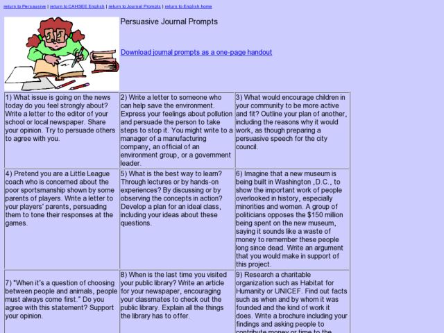 Persuasive Journal Prompts Worksheet