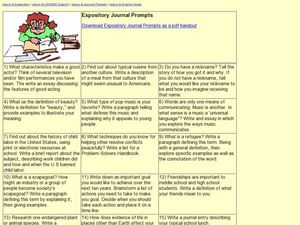 Expository Journal Prompts Lesson Plan