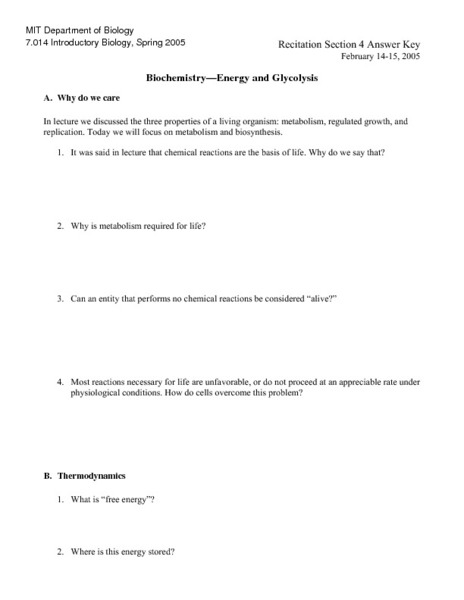 Biochemistry And Glycolysis Worksheet For 11th Higher Ed