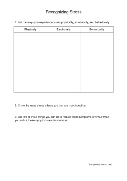 Recognizing and Reducing Stress Graphic Organizer