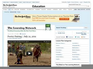 The Learning Network: Poetry Pairing July, 21, 2011 Lesson Plan