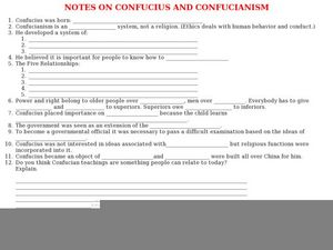 Notes on Confucius and Confucianism  Worksheet